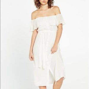 Bardot off shoulder Marina button front dress